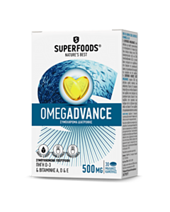 SUPERFOODS Omegadvance 500mg 30 Μαλακές Κάψουλες