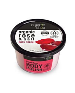 NATURA SIBERICA  Organic Shop Body polish Rose and Salt, Scrub σώματος, Τριαντάφυλλο και Αλάτι 250ml