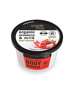 NATURA SIBERICA  Organic shop Strawberry Yoghurt Body Mousse, Βιολογική φράουλα & γάλα, Body Mousse 250ml